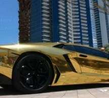 Golden foil wrapped Lamborghini Aventador is sheer elegance