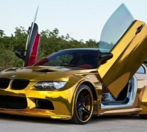 Tuned BMW M3 gets bling wings with gold vinyl wrap