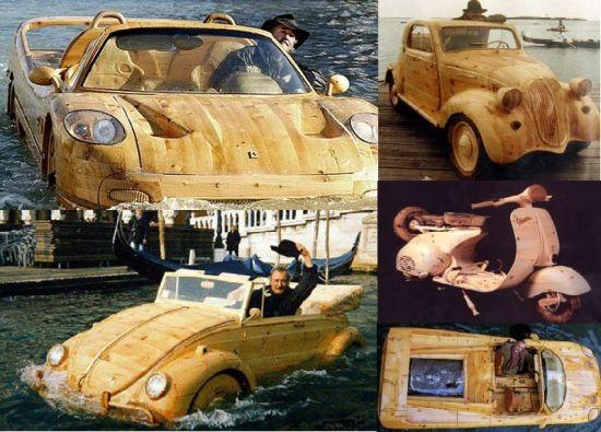 Livio De Marchi's wooden Ferrari F50 boat