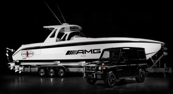 Mercedes, Cigarette Racing G63 AMG themed Huntress boat