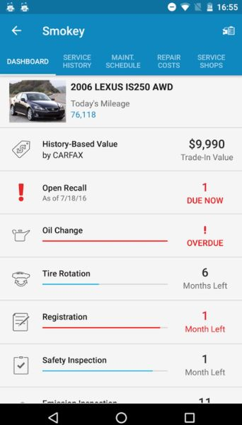 Car maintenance by myCARFAX